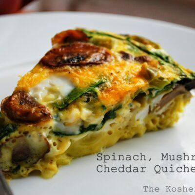 (Crustless) Spinach, Mushroom & Cheddar Quiche