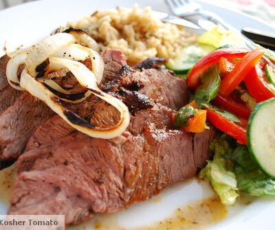Spice Rubbed Grilled Steak with Charred Onions