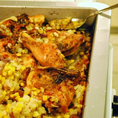 Roasted Chicken with Potato, Corn & Red Onion Smash