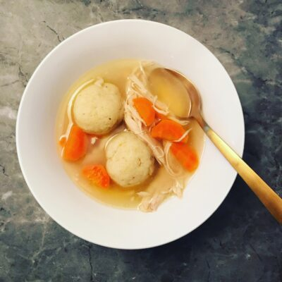 Chicken Soup + Caramelized Onion Matzah Balls