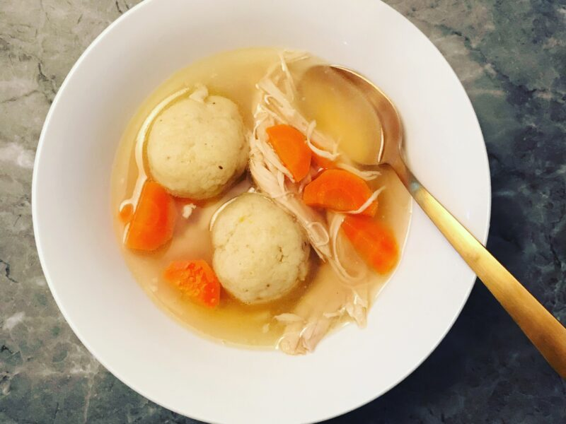Caramelized Onion Stuffed Matzoh Ball Soup