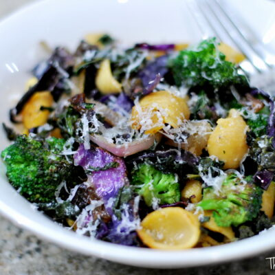 Roasted Kale + Cabbage Pasta in Buerre Noisette
