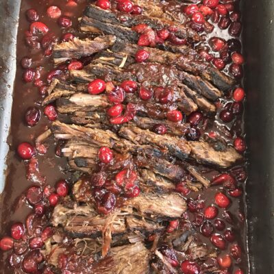 Braised Brisket with Red Wine + Cranberry Sauce