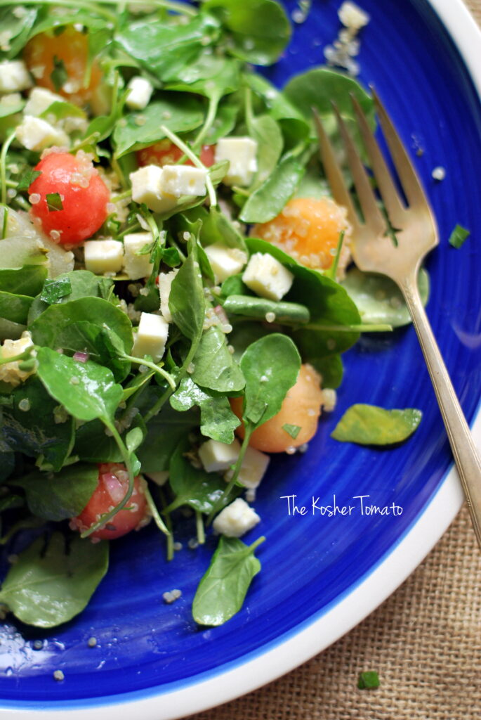 Melon, Watercress + Feta Salad with White Balsamic Dressing